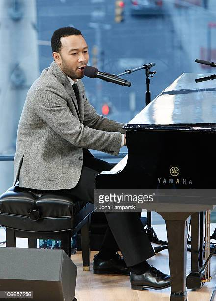 John Legend attends Western Union's 50 Days of Giving holiday campaign launch at Frederick P Rose Hall Jazz at Lincoln Center on November 9 2010 in...