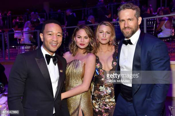 John Legend Chrissy Teigen Blake Lively and Ryan Reynolds attend the 2017 TIME 100 Gala at Jazz at Lincoln Center on April 25 2017 in New York City