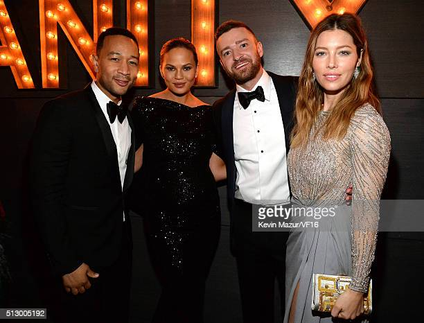 John Legend Chrissy Teigen Justin Timberlake and Jessica Biel attend the 2016 Vanity Fair Oscar Party Hosted By Graydon Carter at the Wallis...