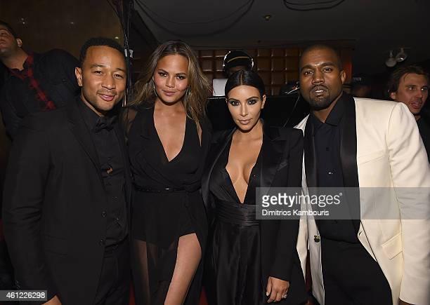 John Legend Chrissy Teigen Kim Kardashian and Kanye West attend John Legend Celebrates His Birthday And The 10th Anniversary Of His Debut Album 'Get...