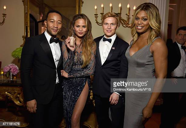 John Legend Chrissy Teigen Ronan Farrow and Laverne Cox attend the Bloomberg Vanity Fair cocktail reception following the 2015 WHCA Dinner at the...