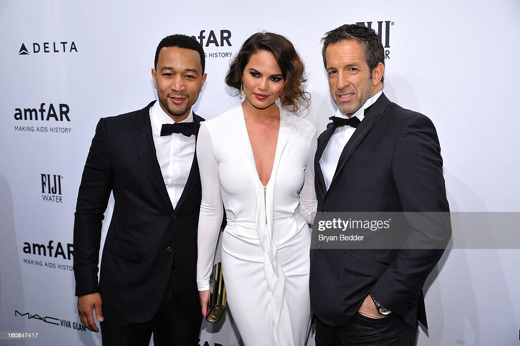 John Legend, Christine Teigen and Kenneth Cole attend the amfAR New York Gala to kick off Fall 2013 Fashion Week at Cipriani Wall Street on February 6, 2013 in New York City.
