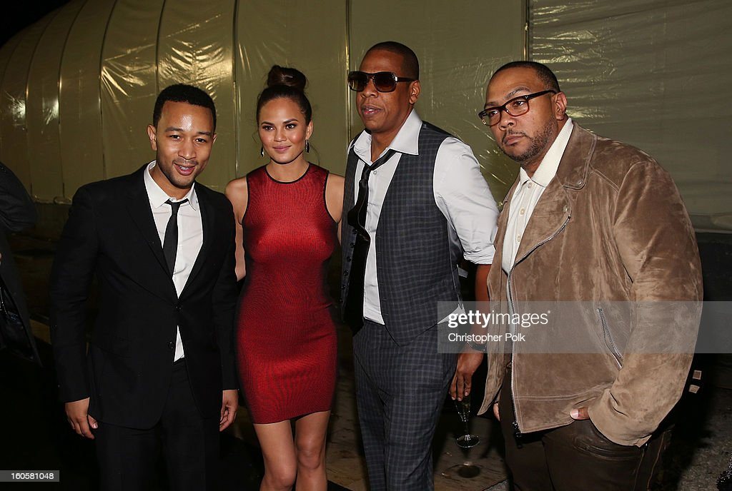 John Legend, Christy Teigen, Jay-Z, and Timbaland attend DIRECTV Super Saturday Night Featuring Special Guest Justin Timberlake & Co-Hosted By Mark Cuban's AXS TV on February 2, 2013 in New Orleans, Louisiana.