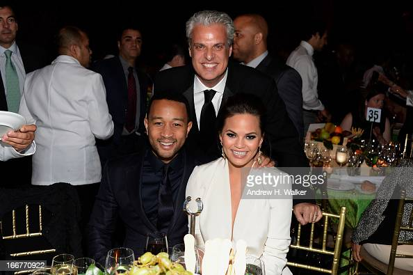 John Legend Eric Ripert and Christine Teigen attend the City Harvest 19th Annual An Evening Of Practical Magic Honoring Marc Murphy at Cipriani 42nd...