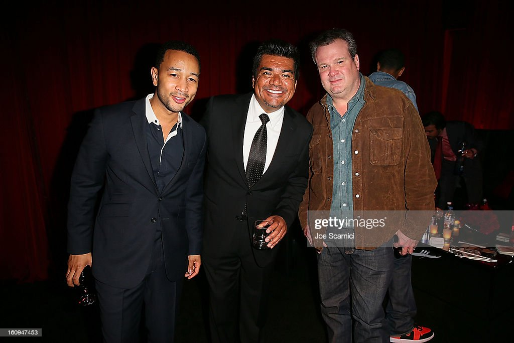 John Legend, George Lopez and Eric Stonestreet attend Delta Air Lines' GRAMMY Celebration At Getty House on February 7, 2013 in Los Angeles, California.