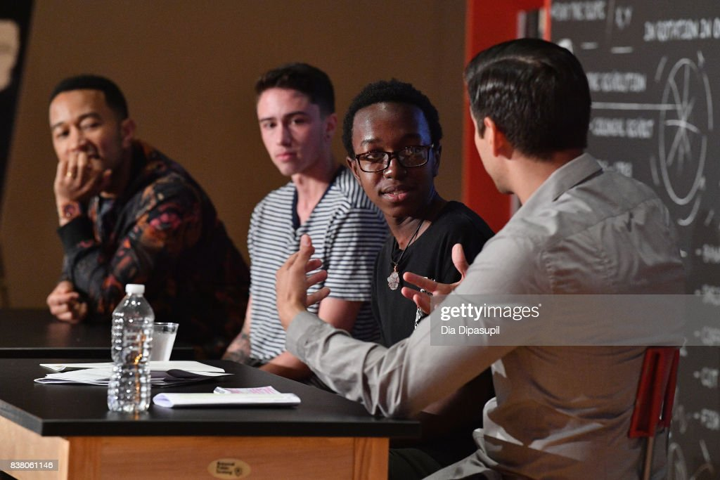 John Legend, Hunter Klugkist, Solomon Mussing, Carlos Andrés Gómez speak onstage at the announcement of the AXE Senior Orientation program on August 23, 2017 in New York City.