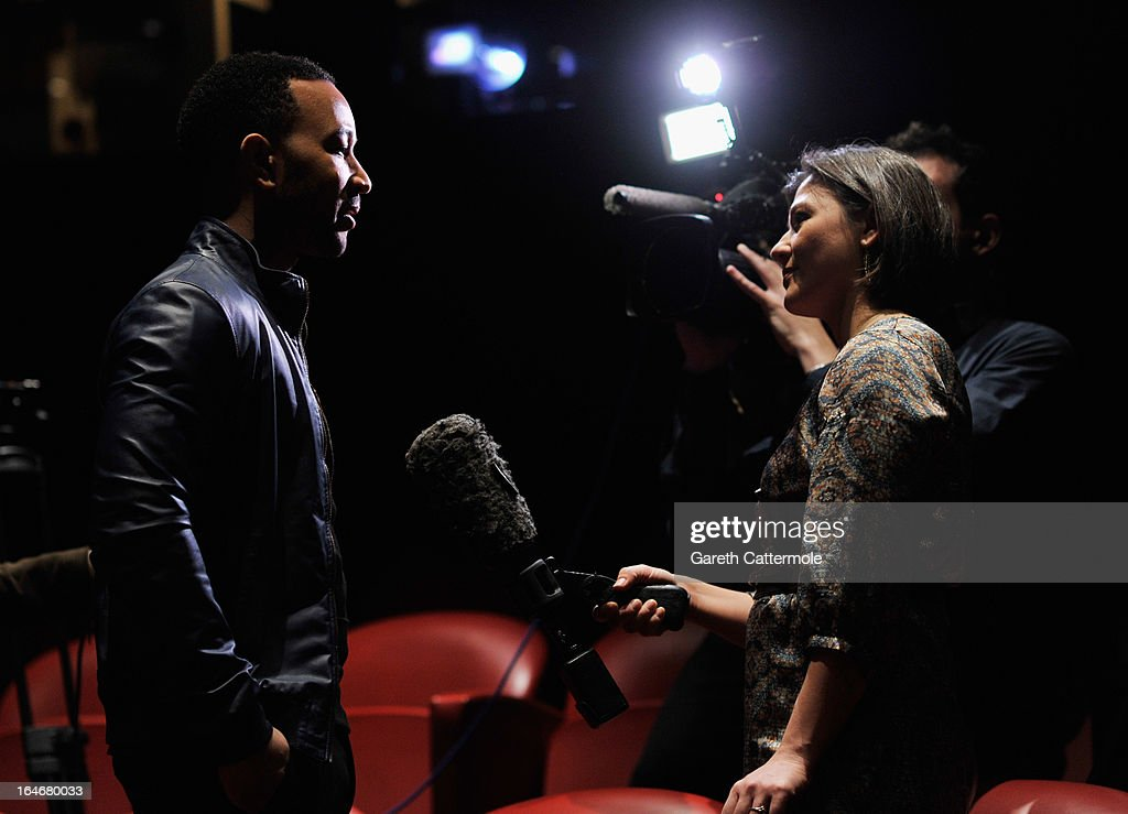 John Legend interviews after a press conference to announce 'The Sound Of Change Live', a global concert event, at the Soho Hotel on March 26, 2013 in London, United Kingdom. Chime For Change, a global campaign for girls' and women's empowerment founded by Gucci and with a founding committee comprised of Gucci Creative Director Frida Giannini, Salma Hayek Pinault and Beyonce Knowles-Carter, today announced a concert event at London's Twickenham Stadium on June 1 with Co-founder and Artistic Director, Beyonce as headliner. Also set to perform are Ellie Goulding, Florence and the Machine, HAIM, Iggy Azalea, John Legend, Laura Pausini, Rita Ora, Timbaland and more to be announced.