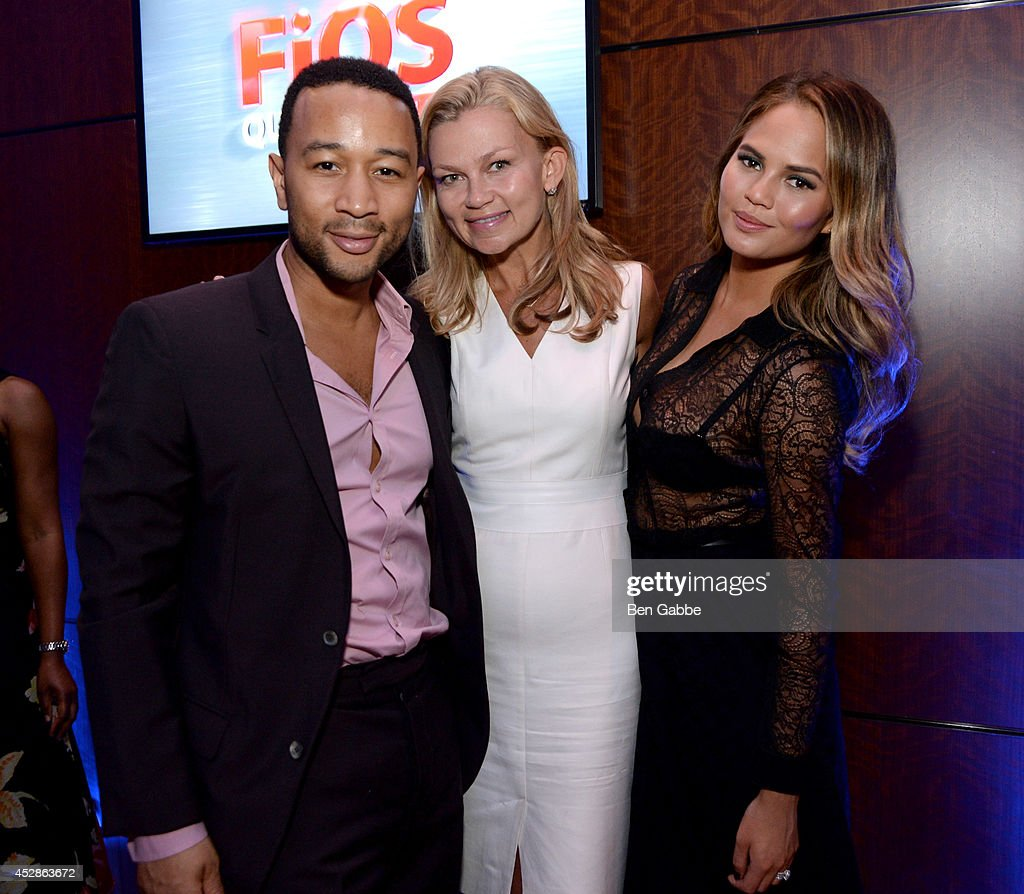 John Legend, Melissa Beste and Chrissy Teigen attend DuJour Magazine and NYY Steak celebrating Chrissy Teigen with FENDI timepieces and Moet Ice on July 28, 2014 in New York City.