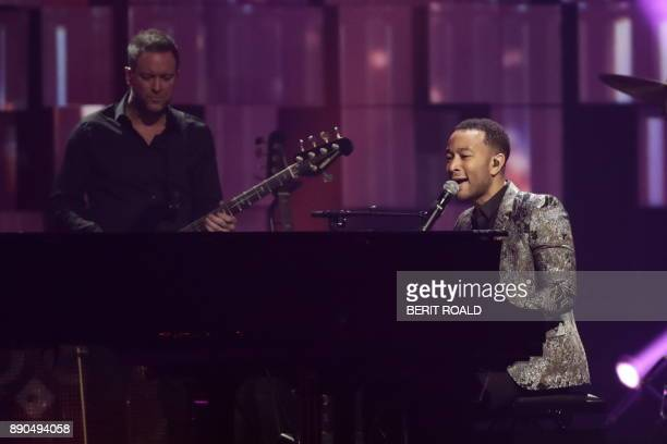 John Legend performs on stage during the Nobel Peace Prize Concert to honor the peace prize laureates ICAN in Fornebu Norway on December 11 2017 /...
