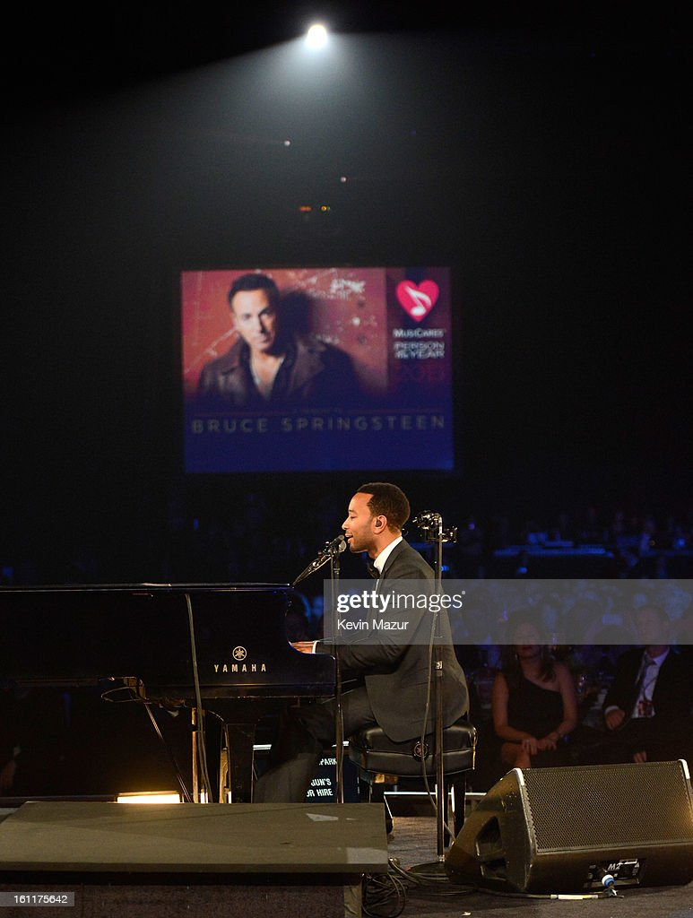 John Legend performs onstage at MusiCares Person Of The Year Honoring Bruce Springsteen at Los Angeles Convention Center on February 8, 2013 in Los Angeles, California.