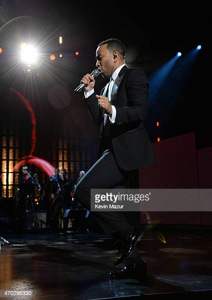 John Legend performs onstage during the 30th Annual Rock And Roll Hall Of Fame Induction Ceremony at Public Hall on April 18 2015 in Cleveland Ohio
