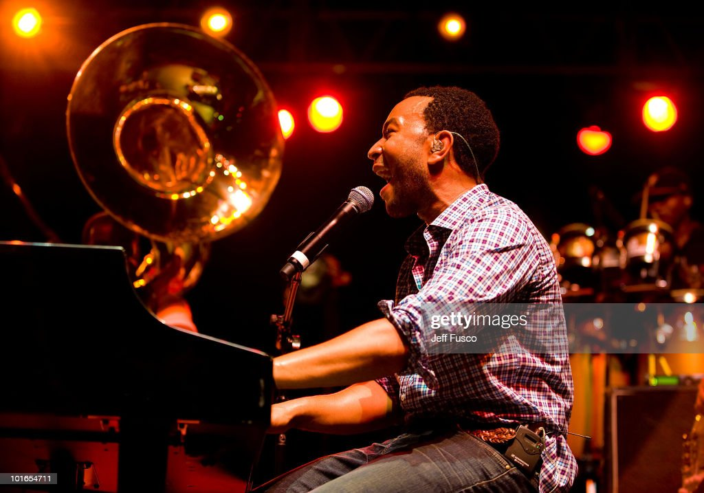 John Legend performs with the Roots at the 3rd Annual Roots Picnic at the Festival Pier on June 5, 2010 in Philadelphia, Pennsylvania.