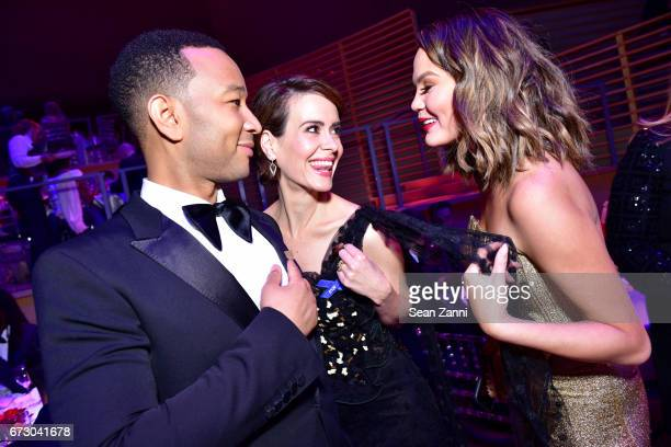 John Legend Sarah Paulson and Chrissy Teigen attend the 2017 TIME 100 Gala at Jazz at Lincoln Center on April 25 2017 in New York City
