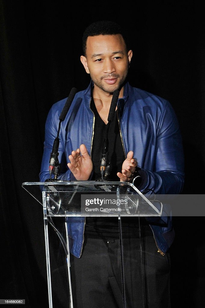 <a gi-track='captionPersonalityLinkClicked' href=/galleries/search?phrase=John+Legend&family=editorial&specificpeople=201468 ng-click='$event.stopPropagation()'>John Legend</a> speaks at a press conference to announce 'The Sound Of Change Live', a global concert event, at the Soho Hotel on March 26, 2013 in London, United Kingdom. Chime For Change, a global campaign for girls' and women's empowerment founded by Gucci and with a founding committee comprised of Gucci Creative Director Frida Giannini, Salma Hayek Pinault and Beyonce Knowles-Carter, today announced a concert event at London's Twickenham Stadium on June 1 with Co-founder and Artistic Director, Beyonce as headliner. Also set to perform are Ellie Goulding, Florence and the Machine, HAIM, Iggy Azalea, <a gi-track='captionPersonalityLinkClicked' href=/galleries/search?phrase=John+Legend&family=editorial&specificpeople=201468 ng-click='$event.stopPropagation()'>John Legend</a>, Laura Pausini, Rita Ora, Timbaland and more to be announced.