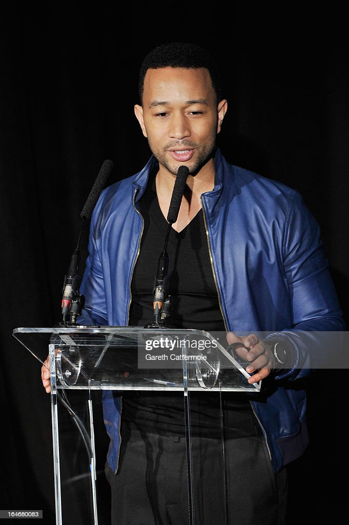 John Legend speaks at a press conference to announce 'The Sound Of Change Live', a global concert event, at the Soho Hotel on March 26, 2013 in London, United Kingdom. Chime For Change, a global campaign for girls' and women's empowerment founded by Gucci and with a founding committee comprised of Gucci Creative Director Frida Giannini, Salma Hayek Pinault and Beyonce Knowles-Carter, today announced a concert event at London's Twickenham Stadium on June 1 with Co-founder and Artistic Director, Beyonce as headliner. Also set to perform are Ellie Goulding, Florence and the Machine, HAIM, Iggy Azalea, John Legend, Laura Pausini, Rita Ora, Timbaland and more to be announced.