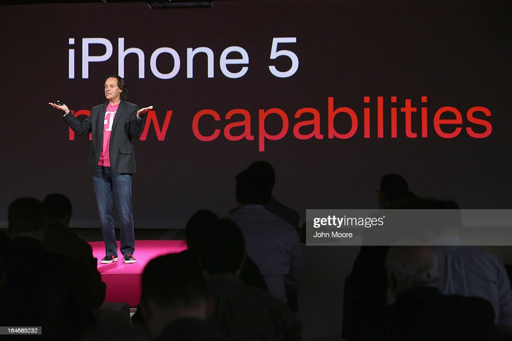 John Legere, CEO and President of T-Mobile USA, makes an announcement during an event about new contract pricing on March 26, 2013 in New York City. Legere confirmed that T-Mobile will start carrying the iPhone 5 starting April 12, under it's new no-contract plan called The Simple Choice, with the customers paying $99 down, then $20 a month for 24 months, on top of the monthly service plan.