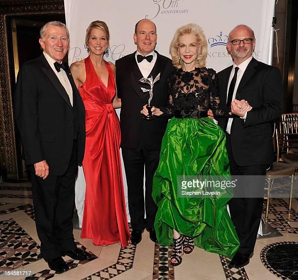 John Lehman Paula Zahn Prince Albert II of Monaco Lynn Wyatt and Michael Wilson attend the 30th anniversary Princess Grace awards gala at Cipriani...