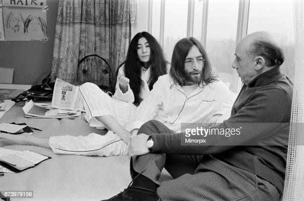 John Lennon and his wife Yoko Ono stage a 'bed in' on their 'honeymoon' in the Hilton Hotel in Amsterdam as a protest against war and violence in the...