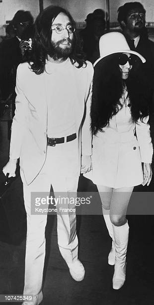 John Lennon And Yoko Ono At Amsterdam In Holland On April 1St 1969
