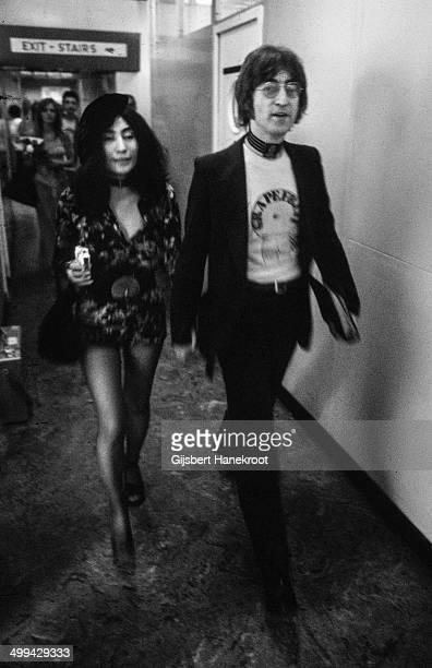 John Lennon and Yoko Ono at Selfridges department store Oxford Street London 1971