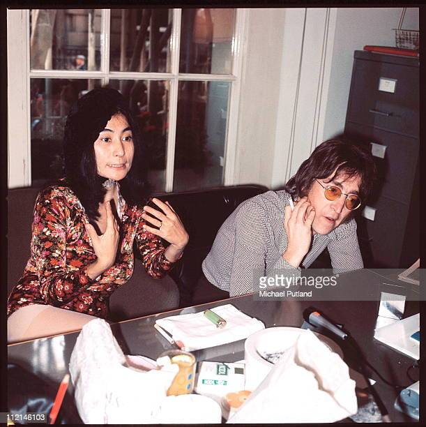 John Lennon and Yoko Ono being interviewed by journalist Steve Turner of Beat Instrumental magazine Apple Records London 19th July 1971