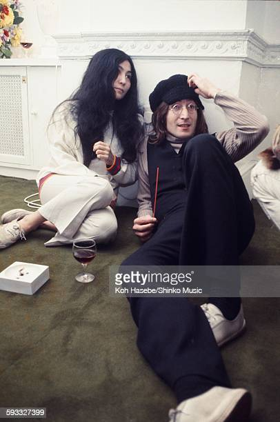 John Lennon and Yoko Ono Christmas party at Apple Corps Ltd London December 1968