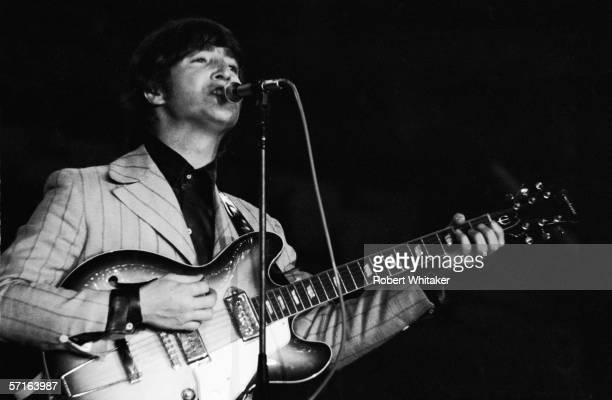 John Lennon in concert at the Nippon Budokan in Tokyo during the Beatles' Asian tour 1966