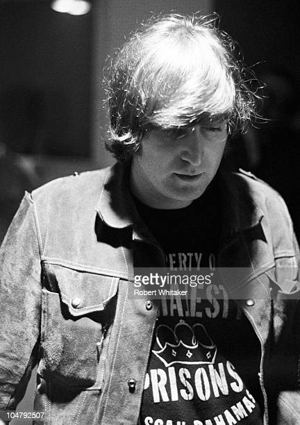 John Lennon is pictured during the recording of The Beatles annual Christmas message to their fan club at Marquee Studios in central London 19th...