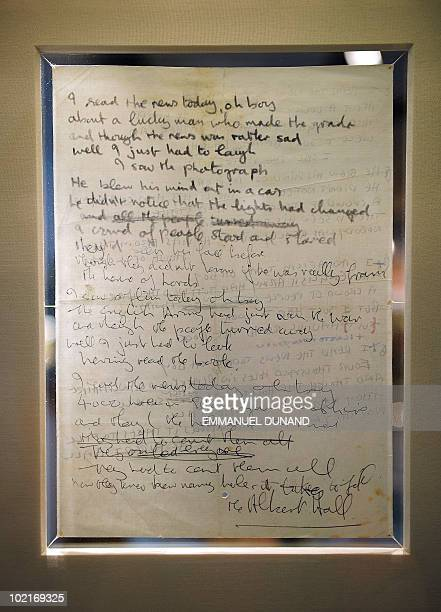 John Lennon�s autograph lyrics for 'A Day In The Life' the revolutionary song that marked the Beatles transformation from pop icons to artists is on...