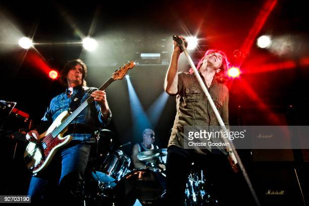 John Leven and Joey Tempest of Europe perform on stage at The Garage on November 1 2009 in London England