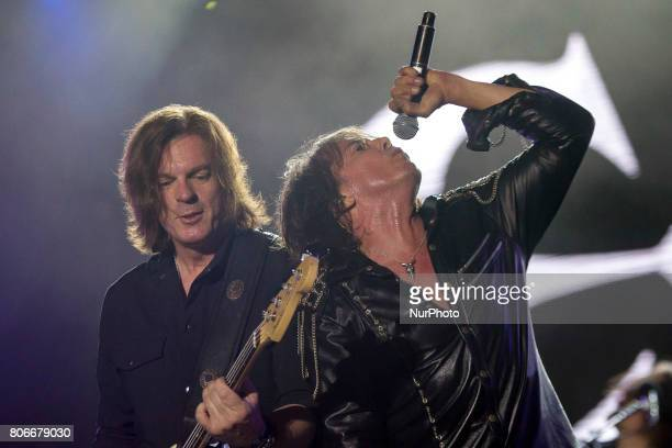 John Levén and Joey Tempest of Swedish rock band Europe during his performance at Rock Fest Barcelona 2017 Festival in Santa Coloma Spain on July 02...