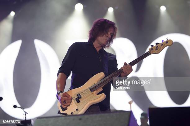John Levén of Swedish rock band Europe during his performance at Rock Fest Barcelona 2017 Festival in Santa Coloma Spain on July 02 2017