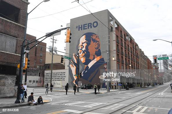 John Lewis mural during the 2017 Martin Luther King Jr Day March and Rally at the MLK Center on January 16 2017 in Atlanta Georgia