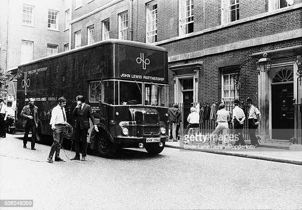 A John Lewis removal van parked outside 10 Downing Street in London as Labour Prime Minister Harold Wilson moves out and Conservative Prime Minister...