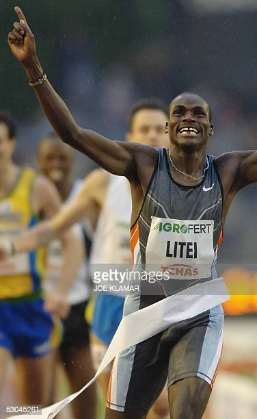 John Litei of Kenya celebrates his victory in men's 800 m during the IAAF Super Grand Prix meeting Golden Spike in Ostrava on 09 June 2005Litei won...