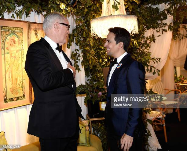 John Lithgow and Lin ManuelMiranda attend the 2017 Tony Awards at Radio City Music Hall on June 11 2017 in New York City