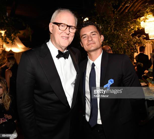John Lithgow and Orlando Bloom attend the 2017 Tony Awards at Radio City Music Hall on June 11 2017 in New York City