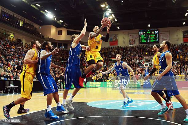 John Little of Ludwigsburg tries to score during the Beko BBL basketball match between MHP Riesen Ludwigsburg and Fraport Skyliners at MHP Arena on...