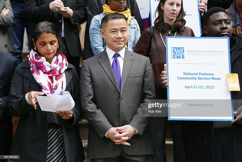 John Liu attends the 2013 Footwear Cares Community Service Week and National Volunteer Week announcement at City Hall on April 22, 2013 in New York City.