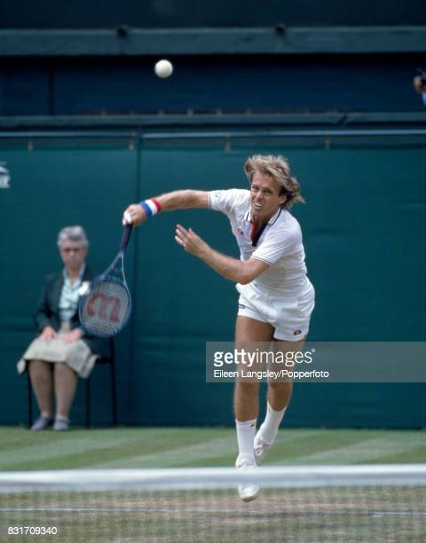 John Lloyd of Great Britain in action during a men's singles match at the Wimbledon Lawn Tennis Championships in London circa June 1985 Lloyd was...
