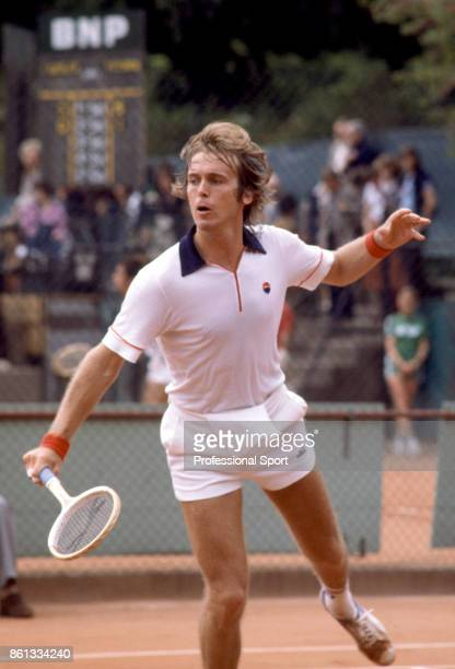 John Lloyd of Great Britain in action during the French Open Tennis Championships at the Stade Roland Garros circa May 1979 in Paris France