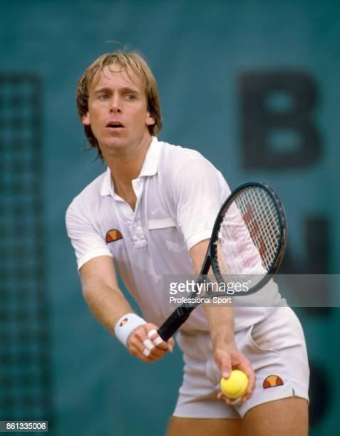John Lloyd of Great Britain in action during the French Open Tennis Championships at the Stade Roland Garros circa May 1984 in Paris France