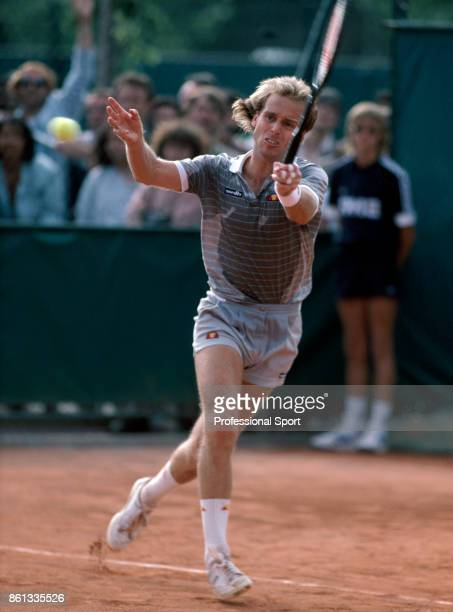 John Lloyd of Great Britain in action during the French Open Tennis Championships at the Stade Roland Garros circa May 1985 in Paris France