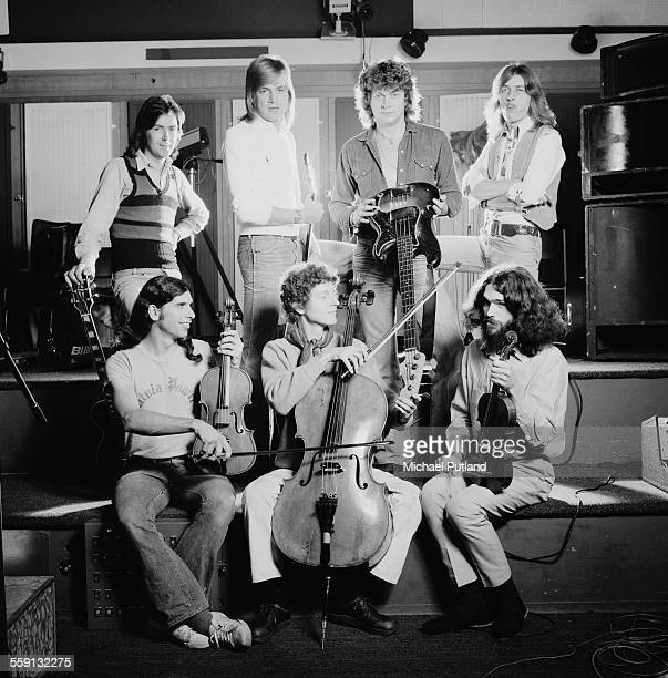 John Lodge and Justin Hayward with the lineup from their album 'Blue Jays' 23rd October 1975 The pair collaborated on the album during the Moody...