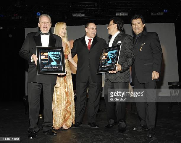 John LoFrumento ASCAP CEO Alexandra Lioutikoff ASCAP Senior Vice President Membership Group Latin present award for Song of the Year to Joan...