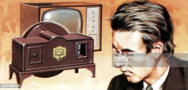 John Logie Baird Scottish electrical engineer pioneer of television On left are his early television apparatus and a 'modern' television set Brook...