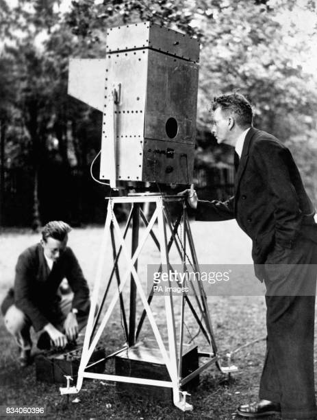 John Logie Baird with his 'Noctovisor' a machine for seeing through fog in the grounds of his home at Boxhill Surrey
