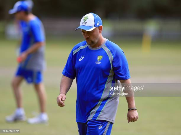 John Lonergan head coach of Australia during the T20 INAS TriSeries against England at Toft Cricket Club on July 18 2017 in Knutsford England