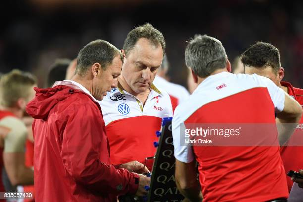 John Longmire coach of the Swans at three quarter time during the round 22 AFL match between the Adelaide Crows and the Sydney Swans at Adelaide Oval...