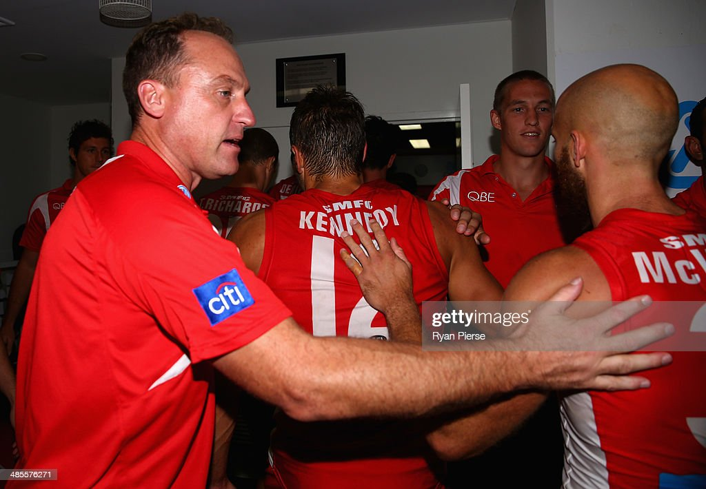 John Longmire, coach of the Swans, celebrates after the round five AFL match between the Sydney Swans and the Fremantle Dockers at Sydney Cricket Ground on April 19, 2014 in Sydney, Australia.